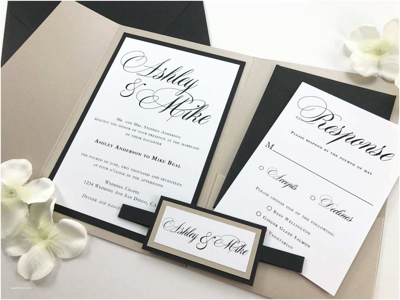 Black and Cream Wedding Invitations Cream White and Black Calligraphy Traditional Script