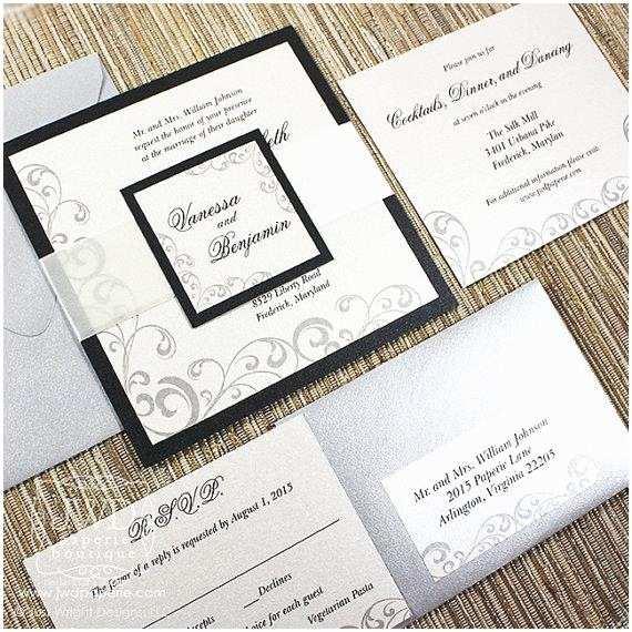Black and Cream Wedding Invitations Elegant Wedding Invitation Black Cream Elegant Invitations