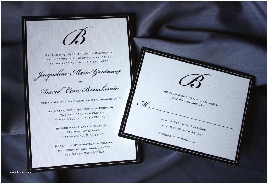 Black and Cream Wedding Invitations formal Black Monogram and Border Wedding Invitations