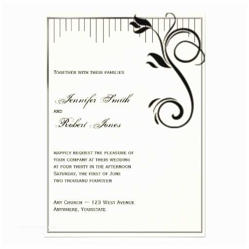 "Black and Cream Wedding Invitations French Deco Rose Black Cream Wedding Invitation 5"" X 7"