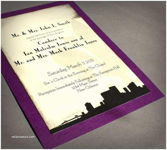 Black and Cream Wedding Invitations New orleans Wedding Invitation Skyline Black Cream Purple