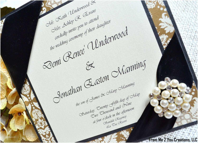 Black and Cream Wedding Invitations Sample Gold and Black Wedding Invitation Pearl Jewel Br