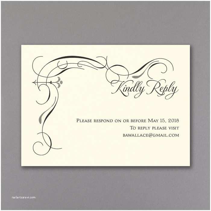 Black and Cream Wedding Invitations Secret Message Wedding Invitations Rsvp & Envelope