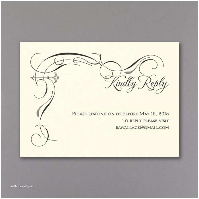 Black and Cream Wedding Invitations Secret Message Wedding Invitations Rsvp & Envelope