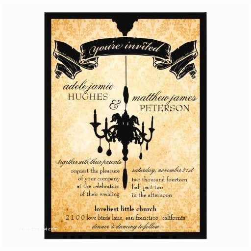 Black and Cream Wedding Invitations Victorian Chandelier • Black & Cream Wedding 5x7 Paper