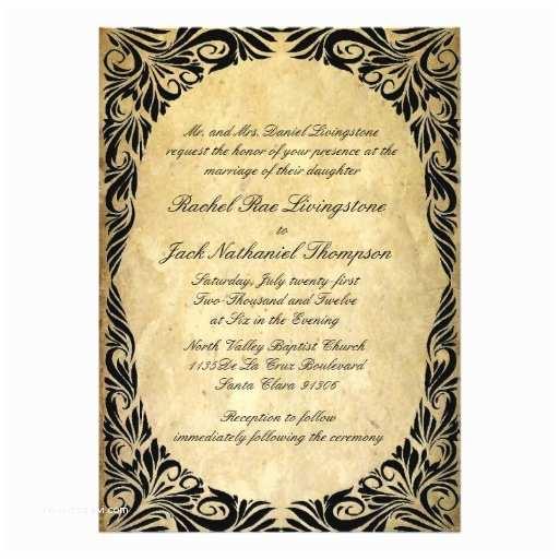 Black and Cream Wedding Invitations Vintage Black and Cream Wedding Custom Announcement