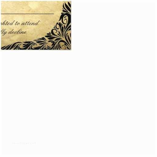 Black and Cream Wedding Invitations Vintage Black and Cream Wedding Rsvp Card