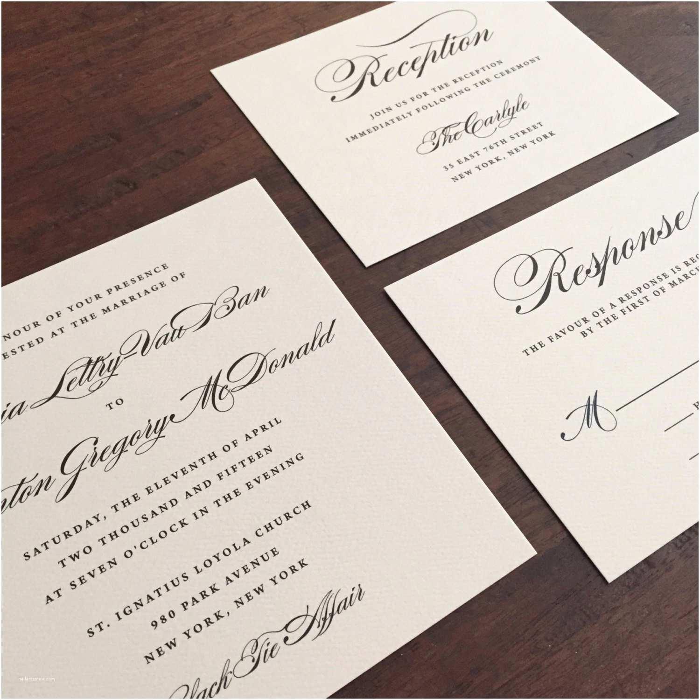 Black and Cream Wedding Invitations Wedding Invitation Suite Black and Cream Purchase This