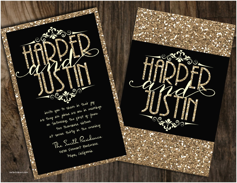 Black and Gold Wedding Invitations 19 Glittery Wedding Stationery Ideas