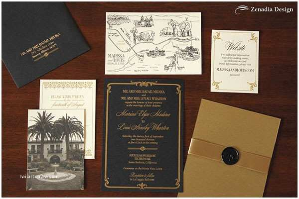 Black and Gold Wedding Invitations Black and Gold Foiled Wedding Invitation Zenadia Design