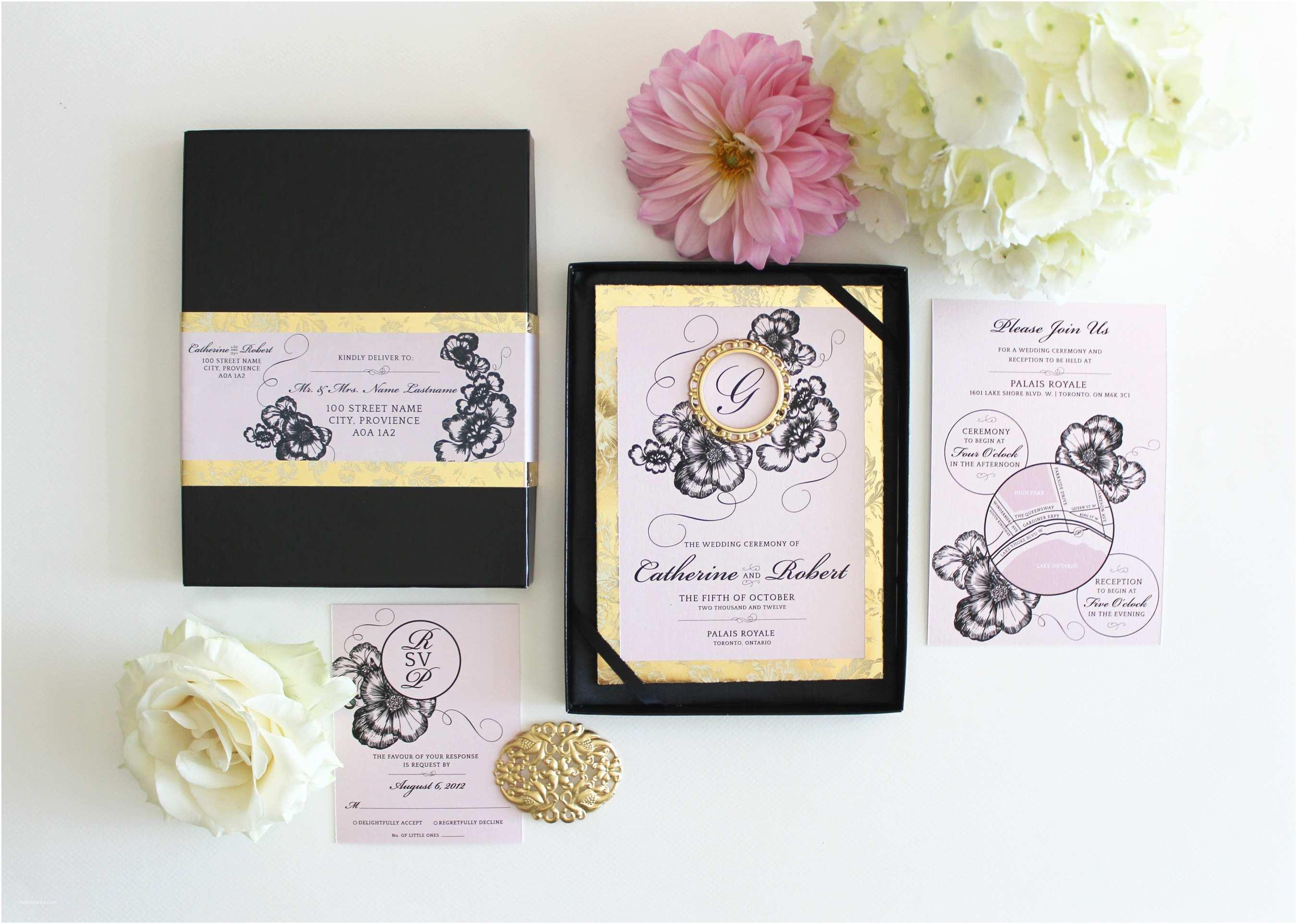 Black and Gold Wedding Invitations Blush Pink Gold and Black Boxed Wedding Invitation