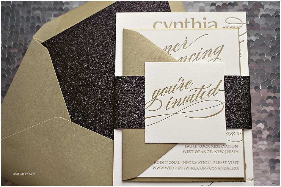 Black and Gold Wedding Invitations Real Wedding Cynthia and Alexander