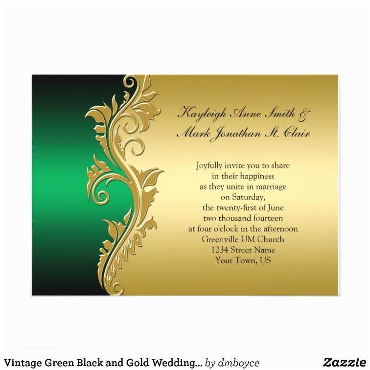 Black and Gold Wedding Invitations Vintage Green Black and Gold Wedding Invitation