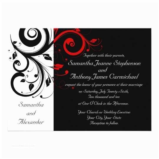 Black and Red Wedding Invitations Black White Red Reverse Swirl Wedding Invitations