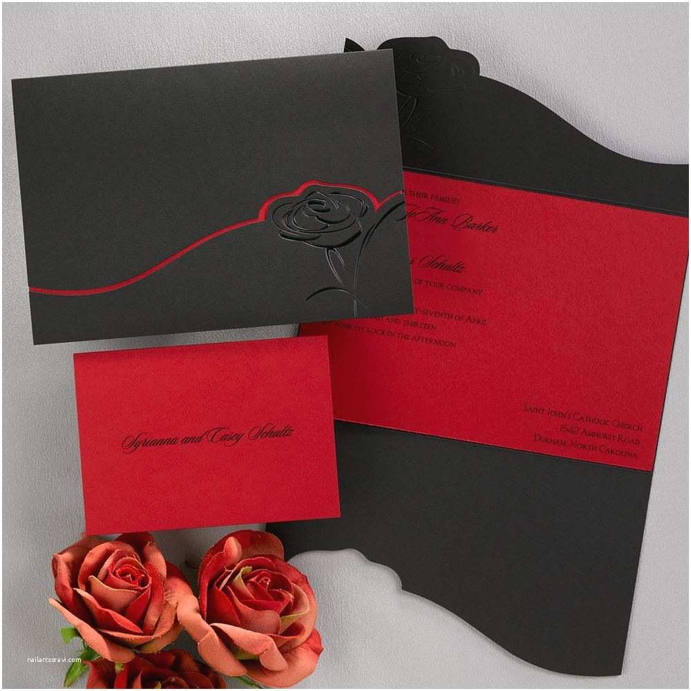 Black and Red Wedding Invitations Dramatic Rose Black and Red Invitation