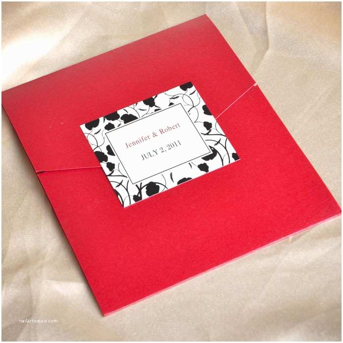 Black and Red Wedding Invitations Modern Red and Black Pocket Printable Wedding Invitation