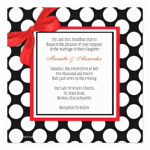 Black and Red Wedding Invitations Red and Black Polka Dot Wedding Invitation 13 Cm X 13 Cm