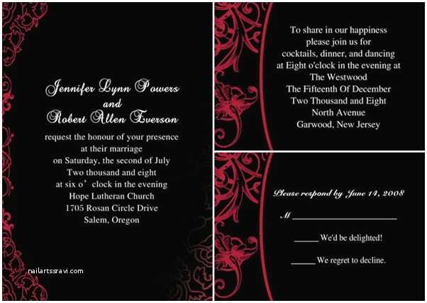 Black and Red Wedding Invitations the Red Wedding Color Bination Ideas