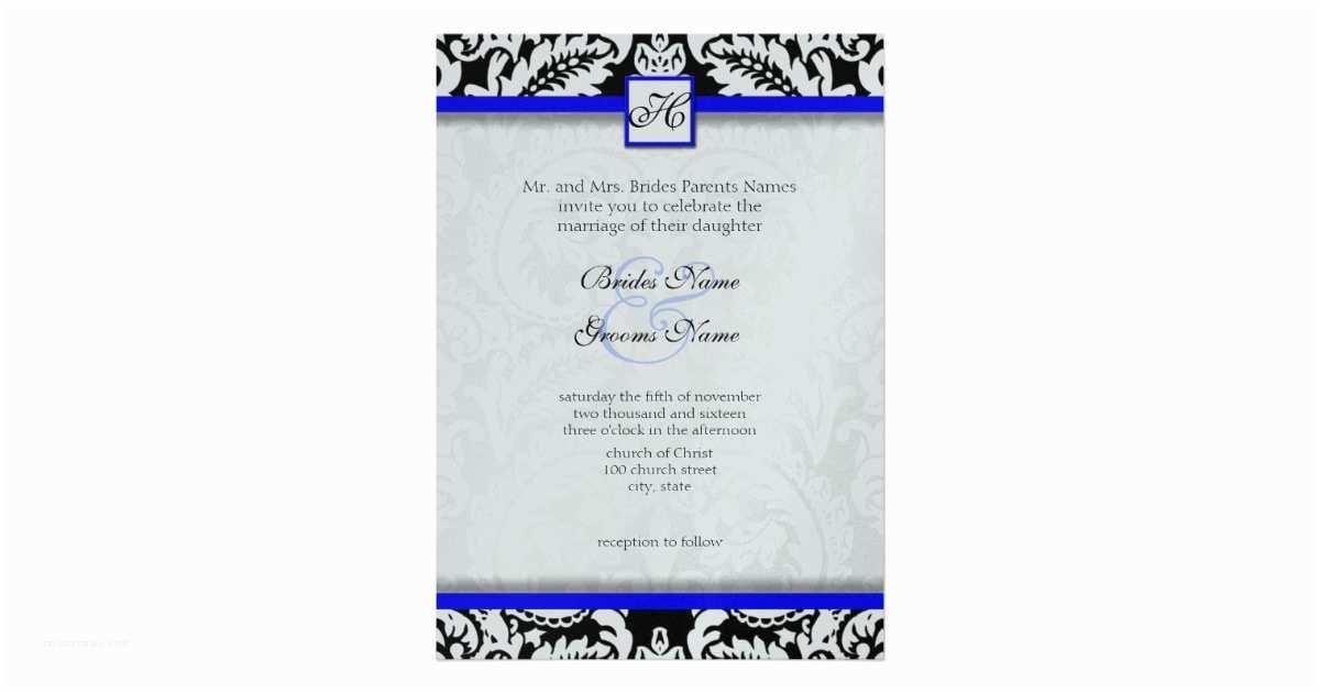Black and Royal Blue Wedding Invitations Black Damask with Royal Blue Wedding Invitations
