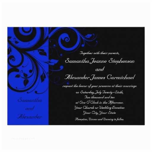 Black and Royal Blue Wedding Invitations Black Royal Blue Reverse Swirl Wedding Custom Invitation
