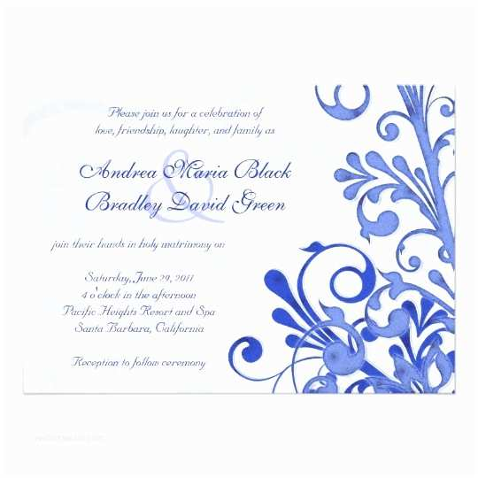 Black and Royal Blue Wedding Invitations Royal Blue and White Floral Wedding Invitation