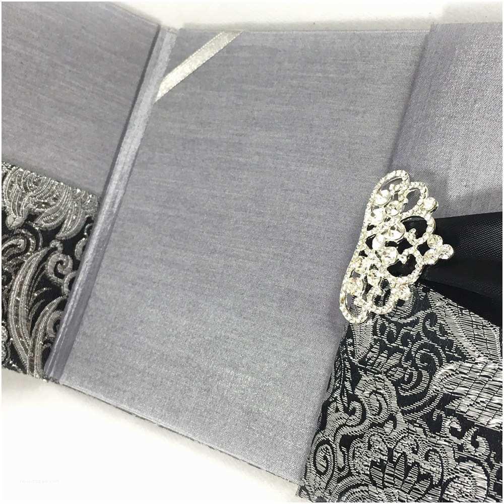 Black and Silver Wedding Invitations Black & Metallic Silver Brocade Wedding Invitation Pocket