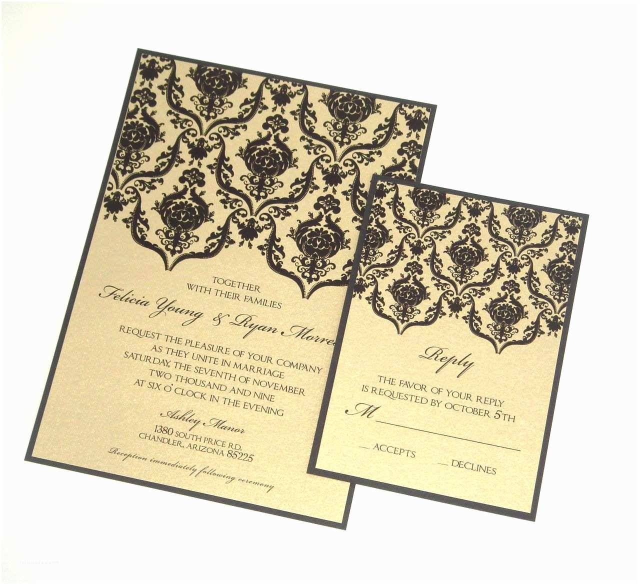Black and Silver Wedding Invitations Black and Gold Wedding Invitations Modern Designs