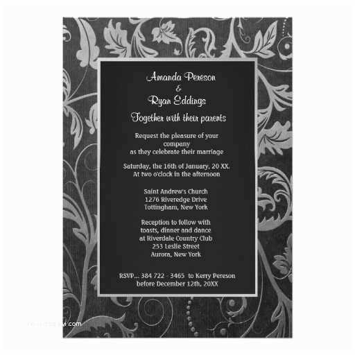 Black and Silver Wedding Invitations Black and Silver Damask Wedding Invitation