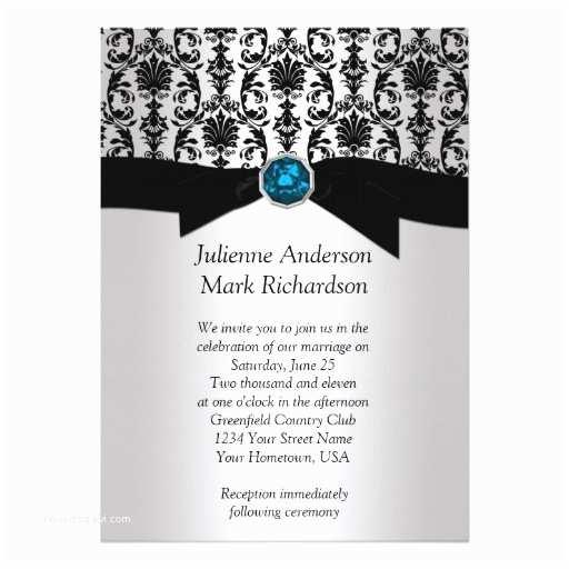 "Black and Silver Wedding Invitations Black Silver Damask Turquoise Wedding Invitatio 5"" X 7"