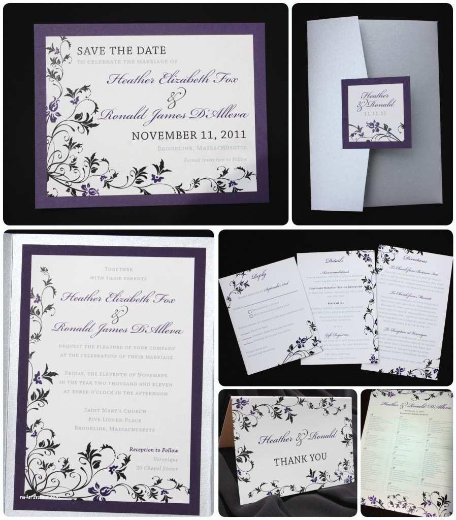 Black and Silver Wedding Invitations Dark Purple Black & Silver Floral Pocketfold Wedding
