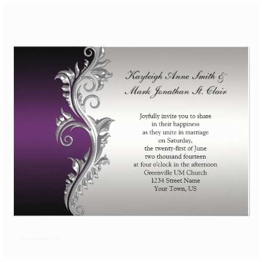 vintage purple black and silver wedding invitation