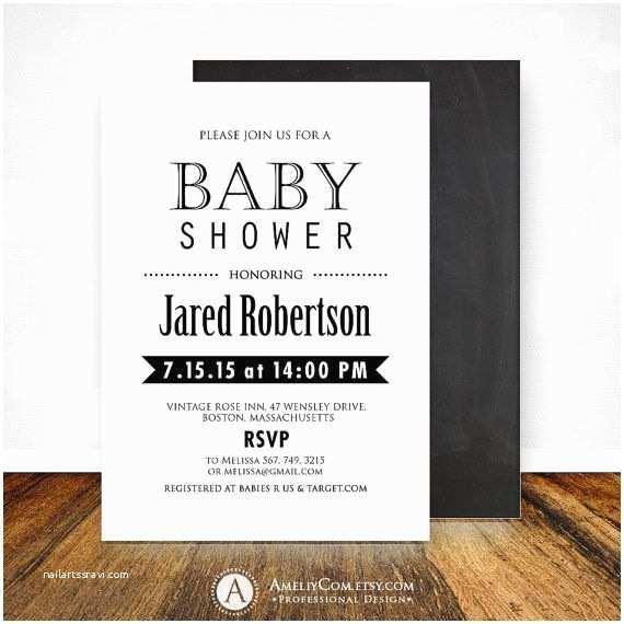 Black and White Baby Shower Invitations Baby Shower Invitation Printable Chalkboard Backside