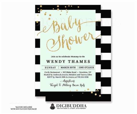 Black and White Baby Shower Invitations Black & White Stripe Baby Shower Invitation Mint Green