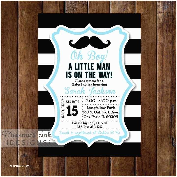 Black and White Baby Shower Invitations Black and White Rugby Stripe Mustache Baby Shower Invitation