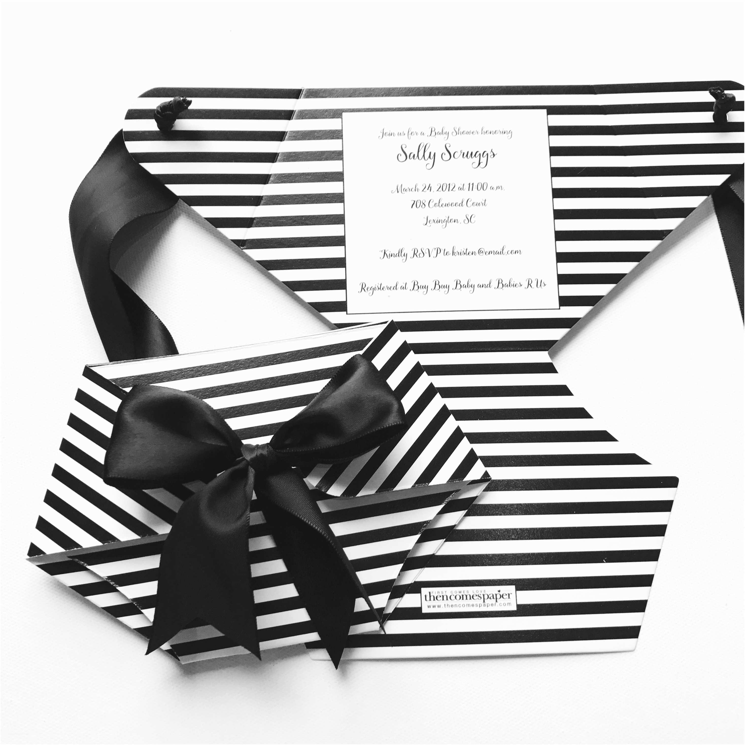 Black and White Baby Shower Invitations Black and White Stripe Diaper Baby Shower Invitation