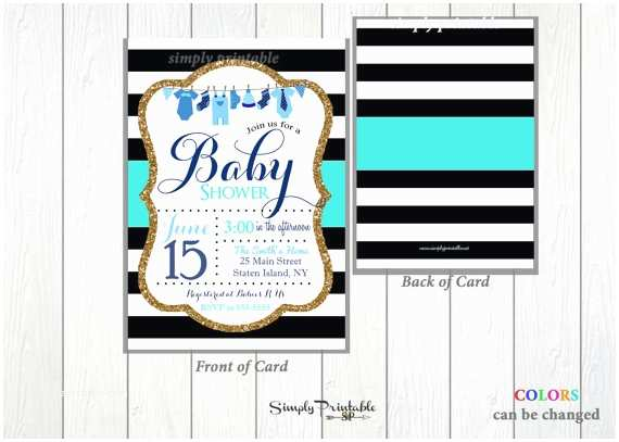Black and White Baby Shower Invitations Blue Black and White Baby Shower Invitation Baby Boy