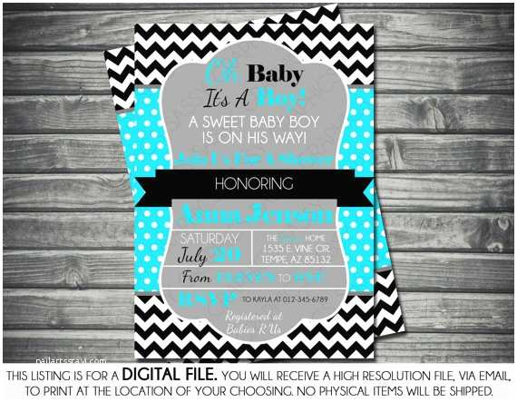 Black and White Baby Shower Invitations Boys Baby Shower Invitation Modern Chevron Turquoise
