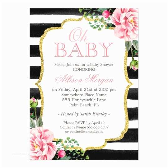 Black and White Baby Shower Invitations Oh Baby Shower Floral Gold Black White Stripes Card