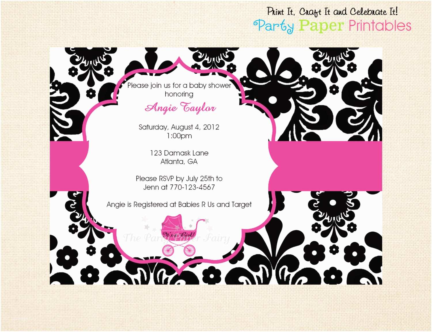 Black and White Baby Shower Invitations Printable Black and White Damask Baby by Partypaperprintables