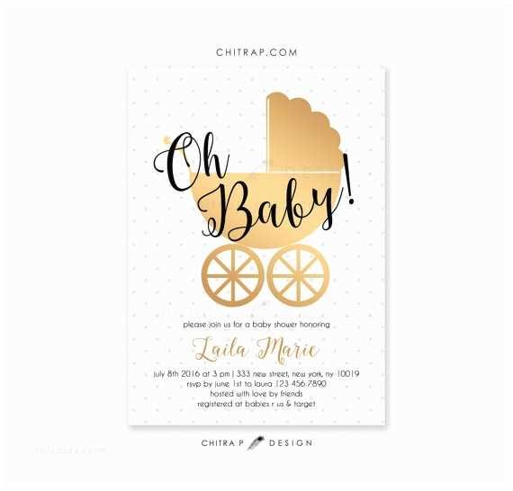 Black and White Baby Shower Invitations White Gold Baby Shower Invitations Printed Black Oh