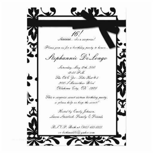 Black and White Birthday Invitations 5x7 Black White Damas Sweet 16 Birthday Invitation