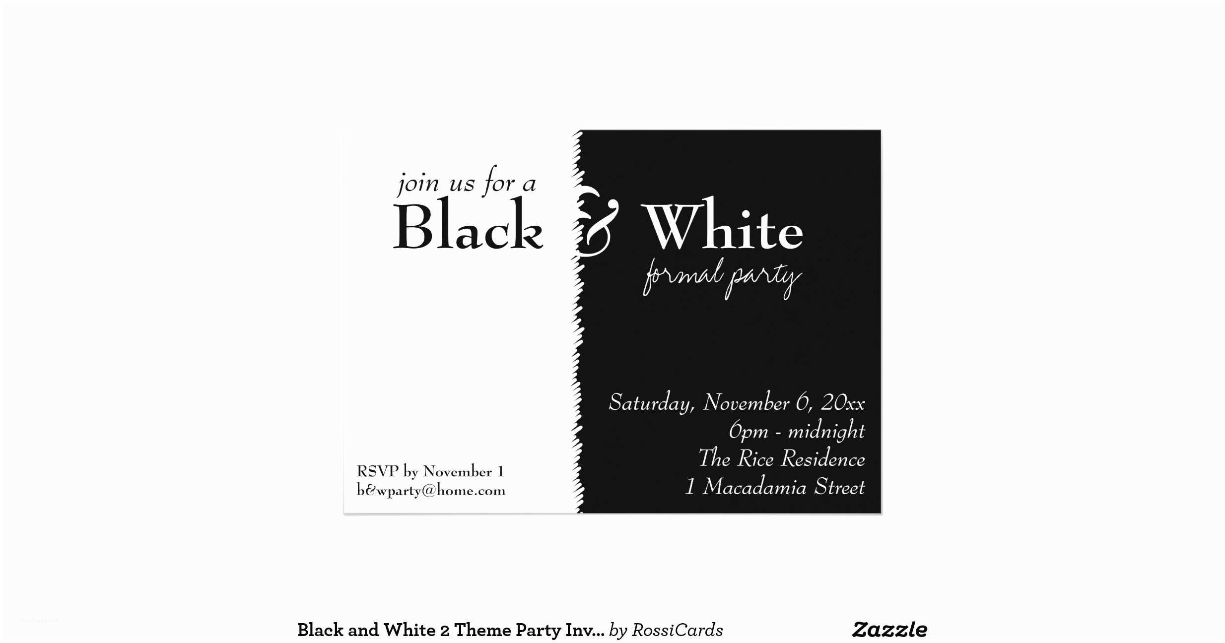 Black and White Birthday Invitations Black and White 2 theme Party Invitation