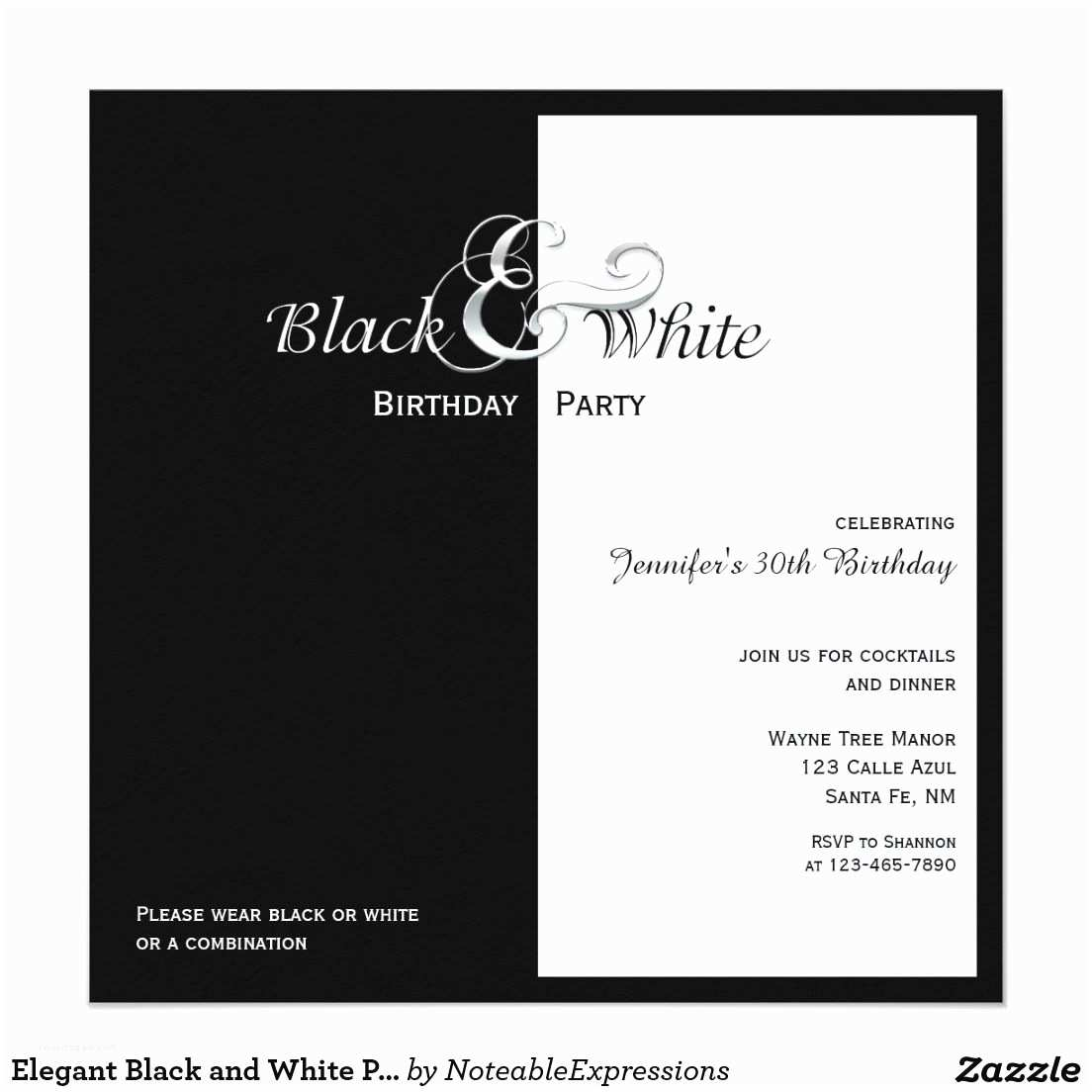 Black and White Birthday Invitations Elegant Black and White Party Card