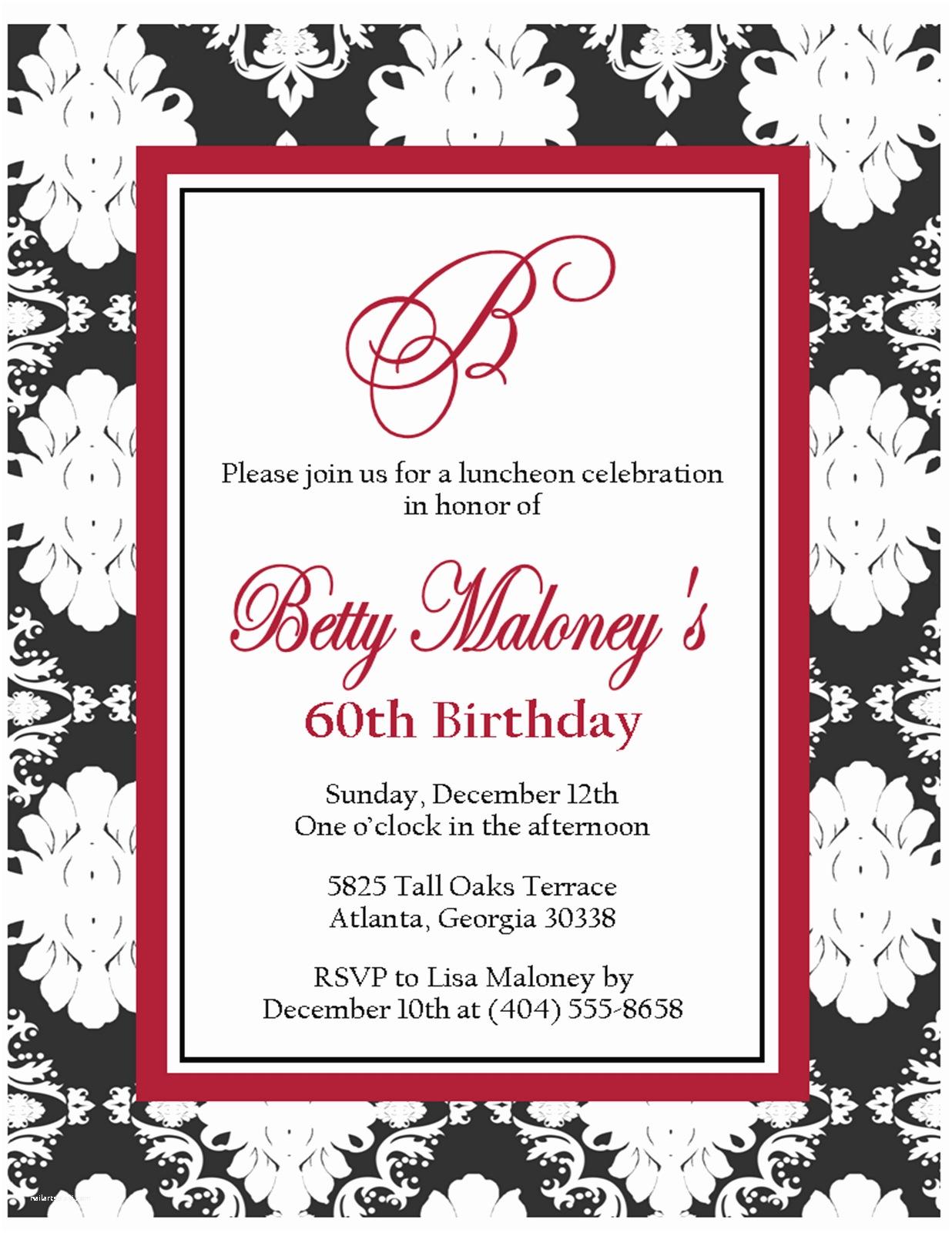 Black and White Birthday Invitations Free Printable Black and White Birthday Invitation