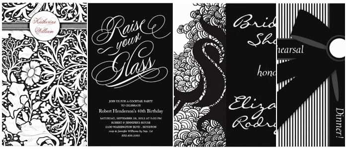 Black and White Party Invitations Black and White Birthday Invitations