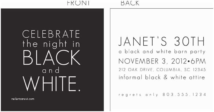 Black and White Party Invitations Black and White Party Invitations