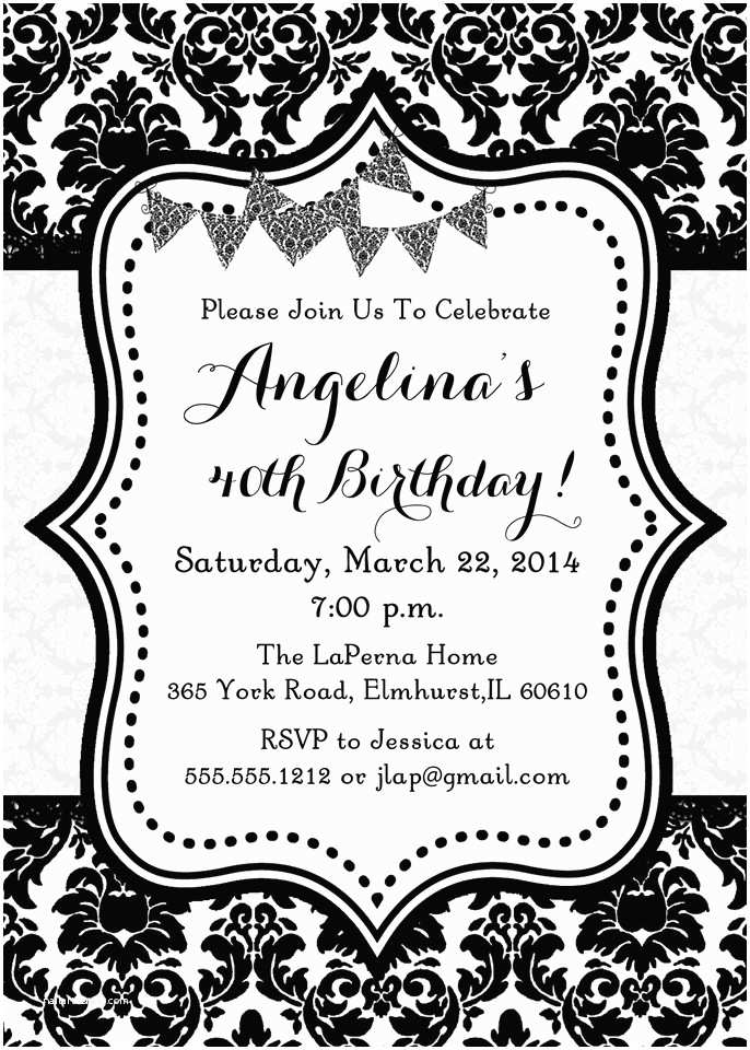 Black and White Party Invitations Black