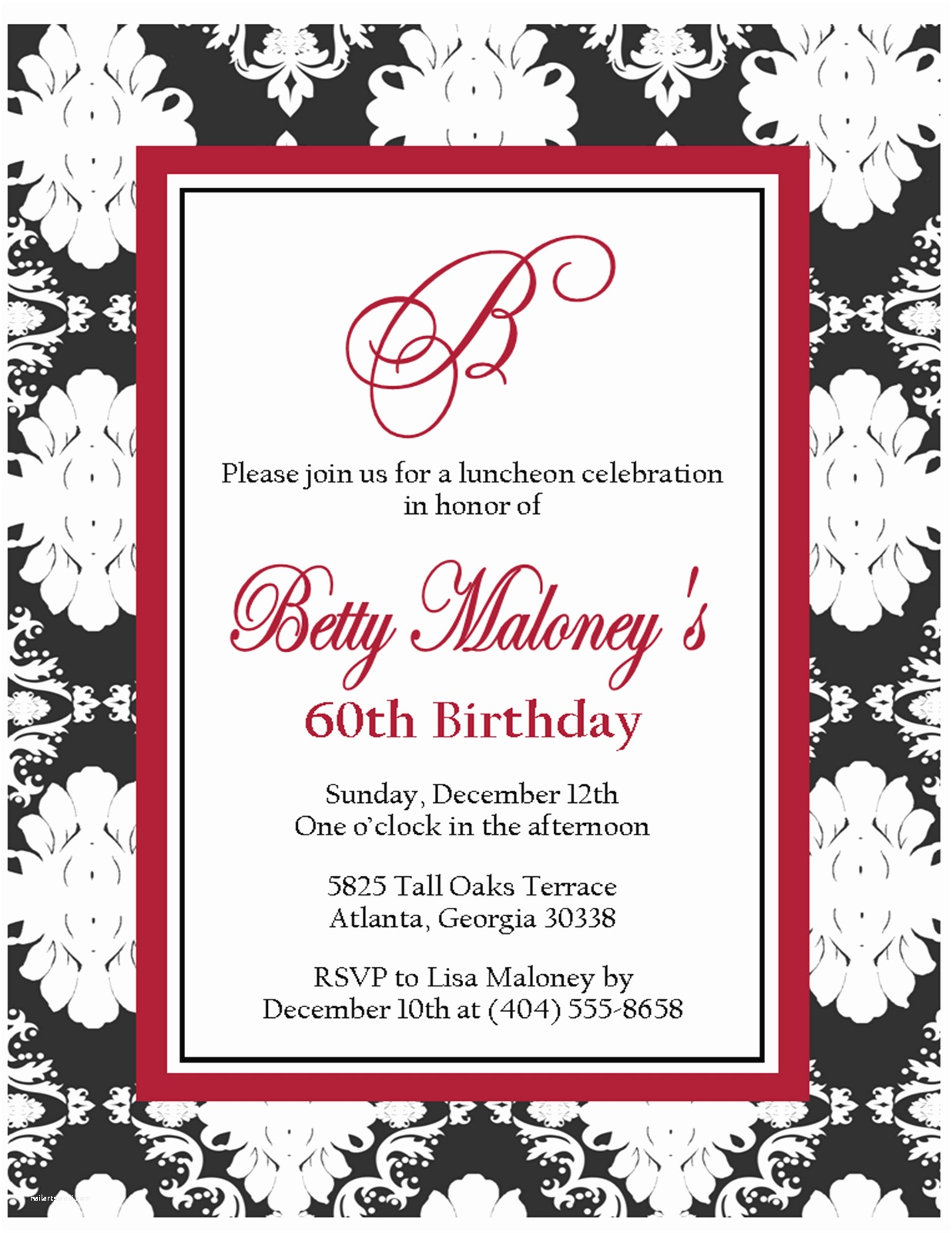 Black and White Party Invitations Free Printable Black and White Birthday Invitation