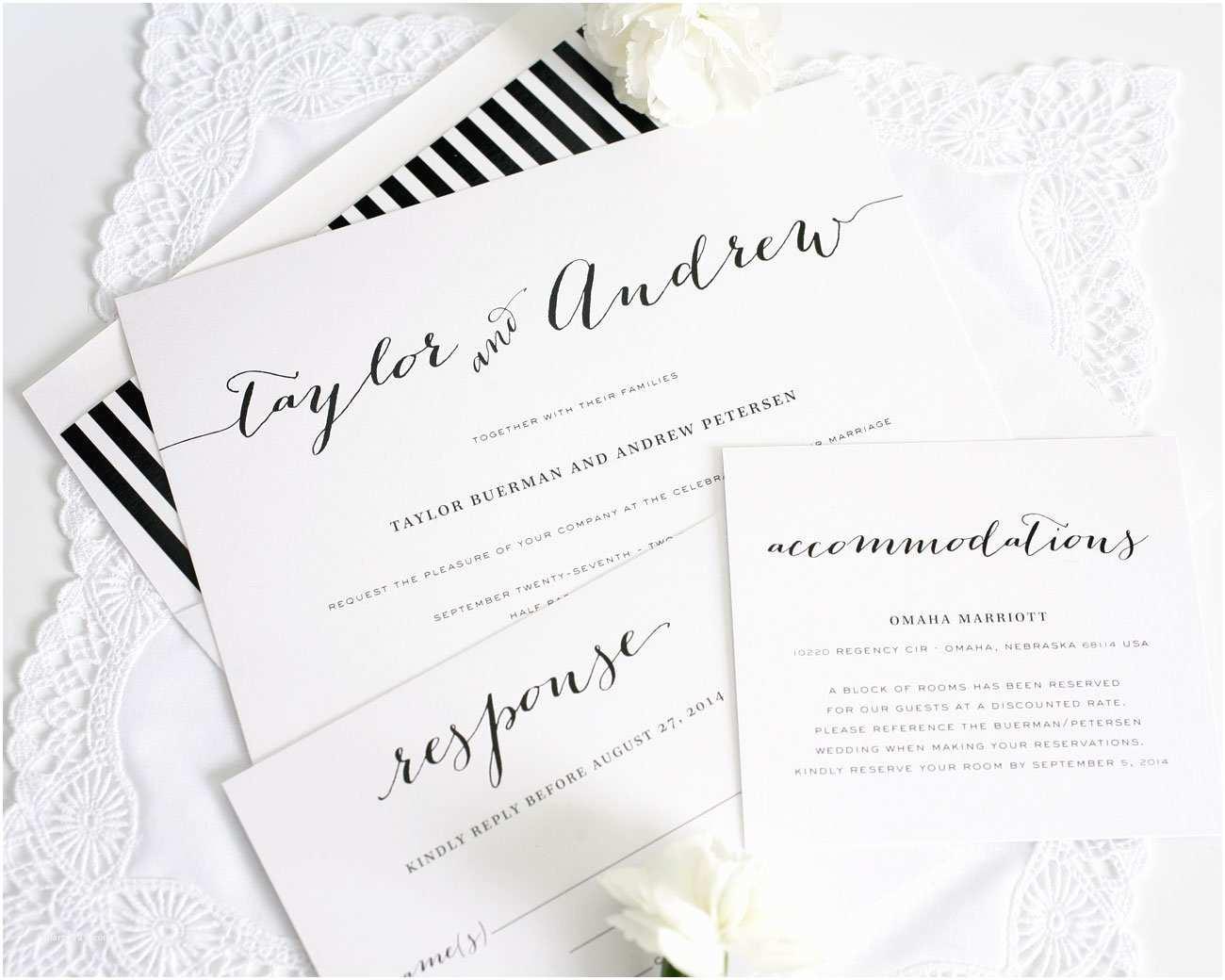 Black and White Wedding Invitations Black and White