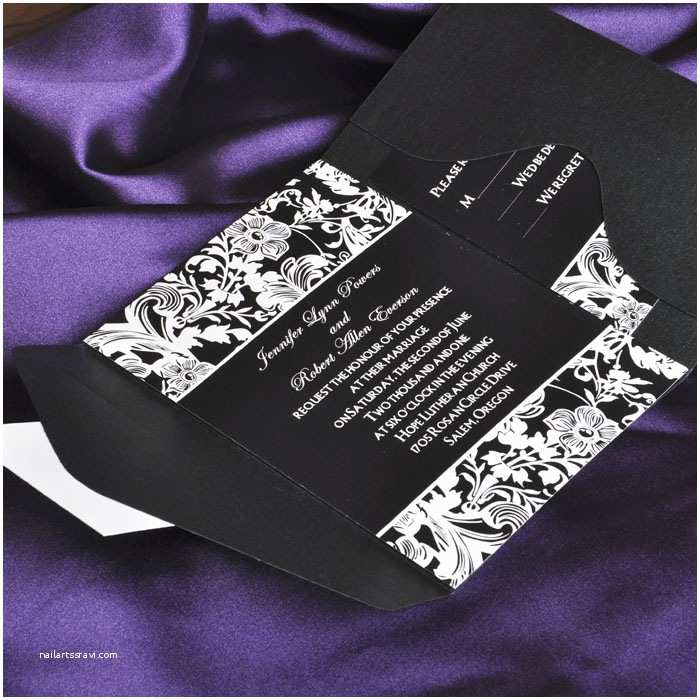 Black and White Wedding Invitations Vintage Black and White Pocket Wedding Invitations with